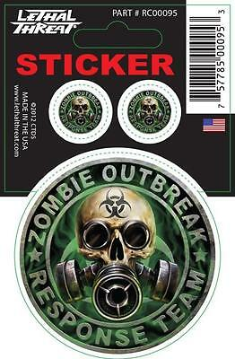 LETHAL THREAT Motorcycle Scooter Bike Decal Helmet Mini Sticker ZOMBIE RC00095