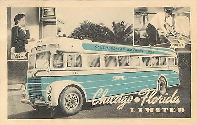 SOUTHEASTERN GREYHOUND BUS  Chicago Florida Limited  Map c1940s   Postcard