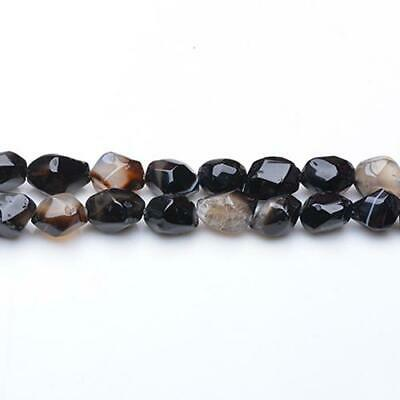 Strand Of 40+ Black Onyx Approx  8 x 10mm Faceted Nugget Beads GS5155