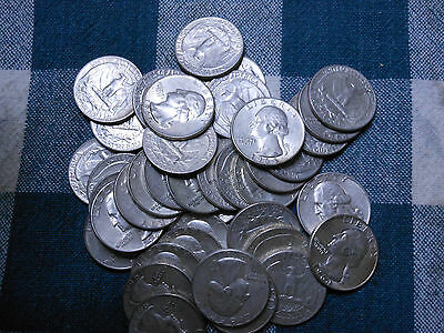 4 Rolls 1964-P & 1964-D 90% Silver Washington Quarters-$40 Face Value-160 Coins