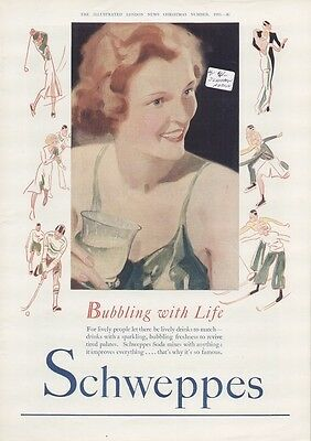 """Schweppes Soda Water 1935 Vintage Ad """"Bubbling With Life"""" Beautiful Woman"""