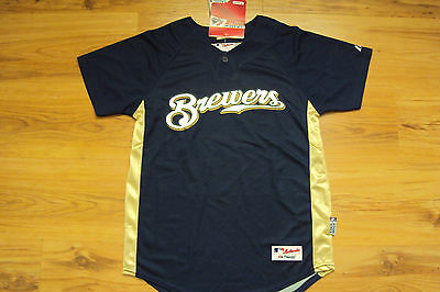 Milwaukee Brewers New Mlb Majestic Authentic Cool Base Kids Jersey