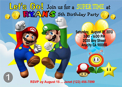 MARIO BROS MARIO RUN Birthday PARTY Invitation PRINTABLE – Super Mario Bros Party Invitations