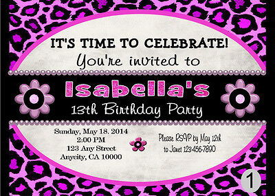 Custom Printable 13Th Birthday Party Teen Invitations Any Age Choose Design