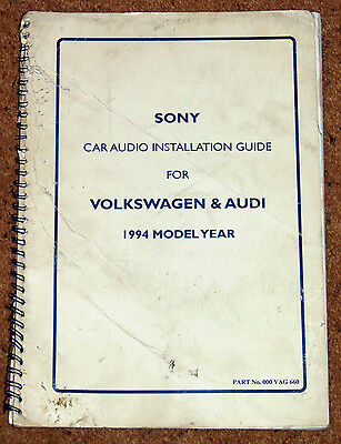 1994 SONY CAR AUDIO INSTALLATION GUIDE for VW & AUDI CARS