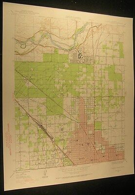 Fresno North California Roeding Park 1955 vintage USGS original Topo chart map