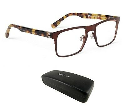 New Spy Optic Heath (52-18-145) Brown Mens Square Hipster Rx Eyeglasses Msrp$160