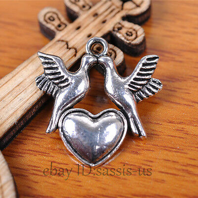 30pcs 21mm Charms Peace Dove Lover Heart pendant Tibet Silver DIY Jewelry A7397