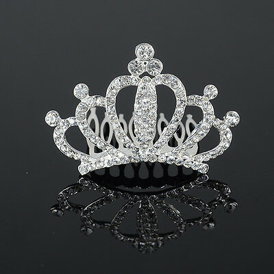 Lady Girl Rhinestone Hair Comb Headband Crown Tiara Wedding Prom Pageant Party