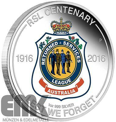 Australien - 1 Dollar 2016 - Centenary of Returned & Services League - Silber