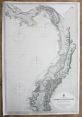 1839-49 South America Panama Colombia Ecuador Vintage Admiralty Chart Map