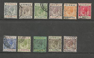 Cyprus Sg103-13 The 1924-8 Gv Set To 9 Piastres Fine Used Cat £90