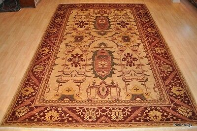 9x12 Persian Rug Beige grey Cream gray army green gold olive redwood rose brown