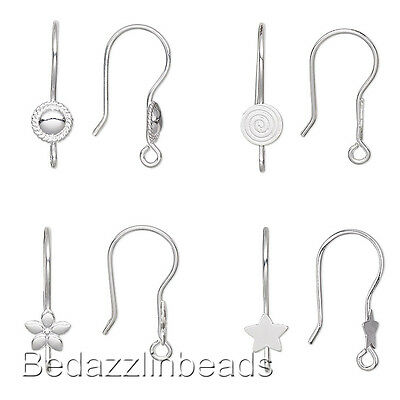 Lot Of 10 Hook Earring Findings With Accent Loop Silver Plated Stainless Steel