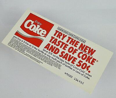 Schöner Coca-Cola Coupon USA 1985 - Try the New Taste of Coke and Save 50c