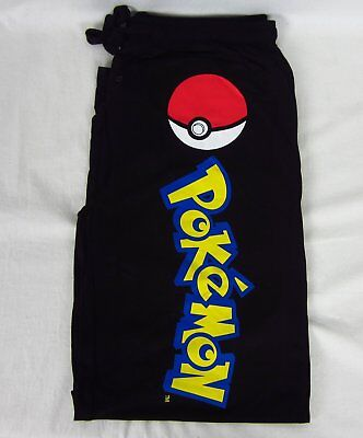 Mens Womens NEW Pokemon Ball Black Pajama Lounge Sleep Pants Size XS S M L XL