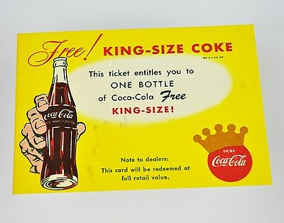 Schöner alter Coca-Cola Coupon USA 1960er - Free! King-Size Coke