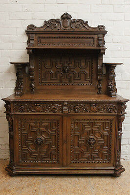 1112065 : Antique French Renaissance Carved Hunt Buffet Sideboard Cabinet