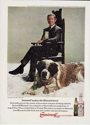 Vintage 1969 Smirnoff Vodka Liquor Original Print Ad w/Johnny Carson