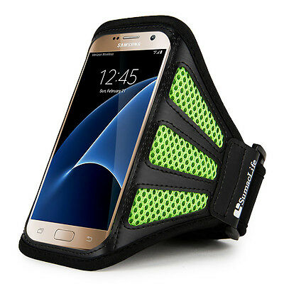 Green/Black Mesh Workout Sport Gym Armband Case for Samsung Galaxy S7 Edge
