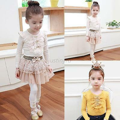 Chic New Kids Girls Lace Bowknot Long Sleeve Bottoming Shirt Tops T-Shirt Blouse