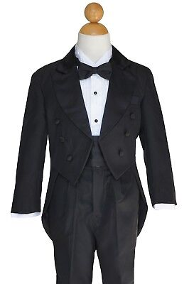 BOY RECITAL, RING BEARER, GRADUATION TUXEDOS With TAILS, BLACK, Sz: 2T TO 14