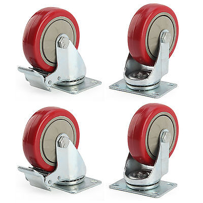 Heavy Duty 100mm Rubber Wheel Swivel Castor Wheels Trolley Caster Brake 600KG UK