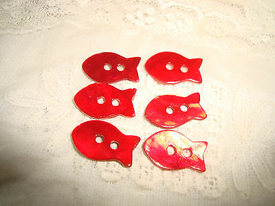 6 Red  FISH   Agoya Shell Buttons