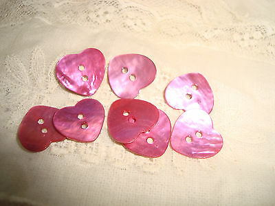 8 Pink Heart Shaped Agoya Shell Buttons