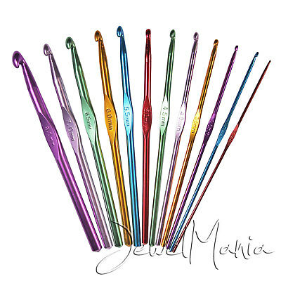 12 Multi Coloured Aluminium Crochet Hooks Yarn Knitting Needles Set 2mm-8mm