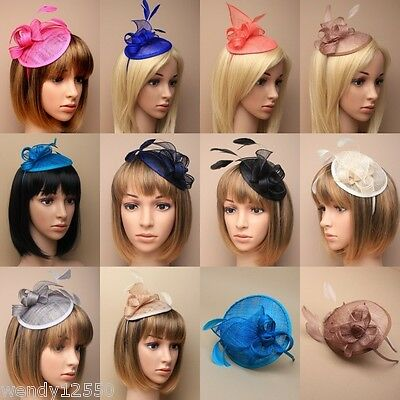 Pack Of 3 Sinamay & Feather Fascinators On A Matching Colour Alice Band