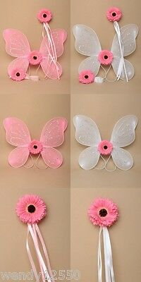 Pack Of 2 Flower Girl Sets, Wings, Wand, Headband, Flower, Fancy Dress, Party