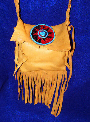 "5x5"" Fringed Leather Bag w/ Rosette & Braided Strap Native American Regalia 02"