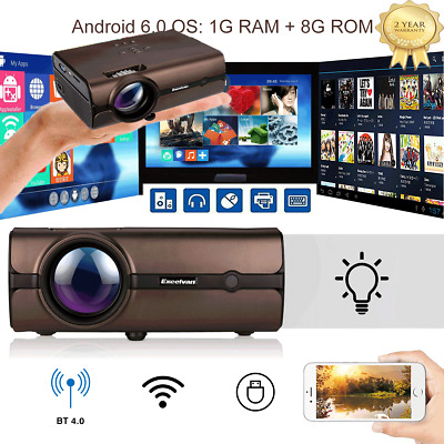 Android 6.0 Mini Proyector HD 1080P de cine en Casa Bluetooth HDMI/USB/AV/VGA/TF
