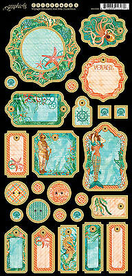 Graphic45 VOYAGE BENEATH THE SEA #1 Journaling Chipboard scrapbooking (27) PCS
