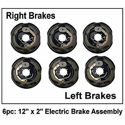 "6pc Electric Trailer Brake 12"" x 2"" Assembly Right & Left SIde 6000 7000 Axle"