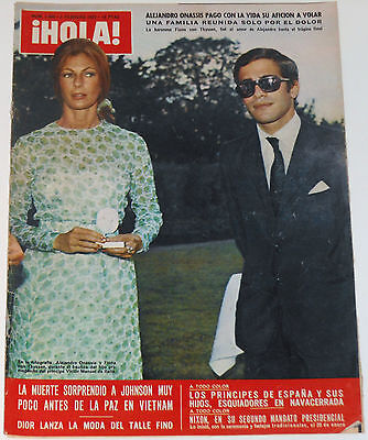 ALEXANDER ONASSIS DEATH Hola 1973 cover & inside report Jackie Kennedy Niarchos