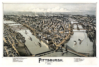 Vintage Giclee Reprint PITTSBURGH, PA 1902 Illustrated Aerial Poster Print