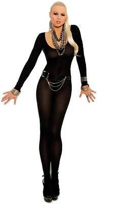 Sexy Nightwear Long Sleeve Crotchless Unitard Bodystocking Lingerie Adult Women