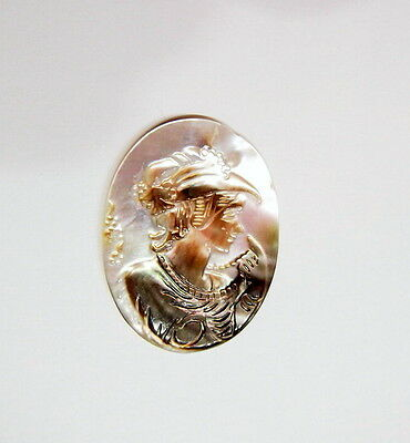 40x30 mm Mother of Pearl Victorian Woman with Hat Cameo, these are Very Nice