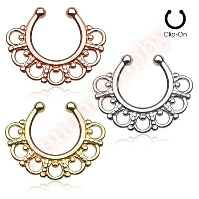 Fancy Tribal Non Piercing Clip On Septum Nose Ring Hanger