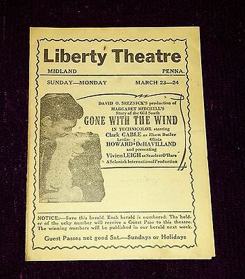 Liberty Theater Herald * Vintage March 1941 * Gone With The Wind * Very Rare