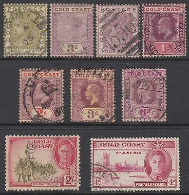 Gold Coast pre-1953 used hi val selection 9 diff stamps cv $33.50