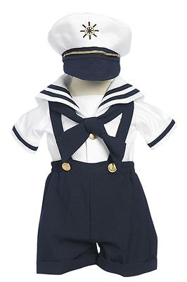 Infant, Toddler Boy's Sailor Outfit Set,Navy Blue/White,Size: Small to 4T
