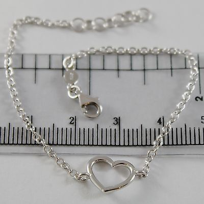 18K White Gold Bracelet 7.10 Inches With Heart, Round Rolo Chain, Made In Italy
