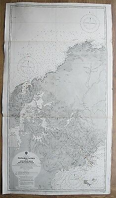 1922 Panama Canal & Approaches Atlantic Ocean Vintage Admiralty Chart Map