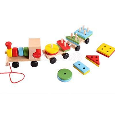 Classic Wooden Pull Along Train With 2 Carriages & Blocks Baby Toddler Toy