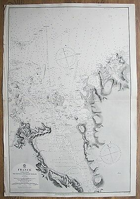 1861 France The Channels & Road To Morlaix Genuine Vintage Admiralty Chart Map