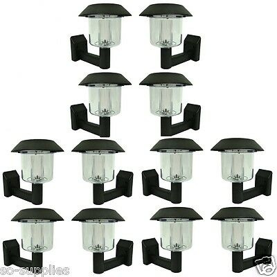 12 X Solar Power Powered Wall Fence Light Post Led Shed Outdoor Garden Lighting