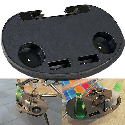 Clip On Portable Camping Side Table Cup Holder Outdoor Garden Fishing Beach